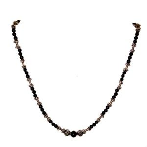 ONYX Bead and Sterling Silver Necklace